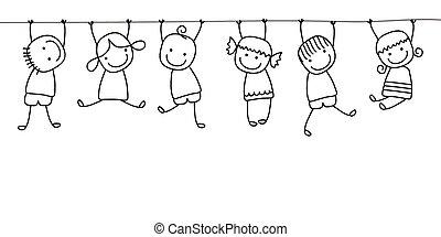 孩子, 玩, 开心