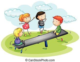 孩子, 玩, 跷跷板, 在公园