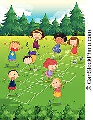 孩子, 玩, hopscotch, 在公园