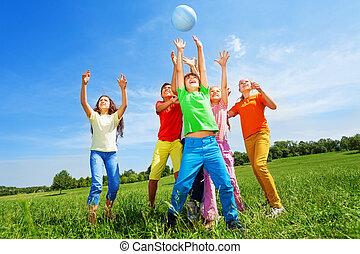 孩子, 球, 空氣, 外面, 抓住, 愉快