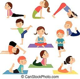 孩子, 瑜伽, 矢量