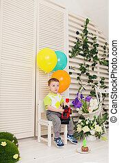 孩子, 生日聚會, 以及, 童年, 概念, -, 小男孩, 由于, a, 气球, 以及, 玩具, 在室內