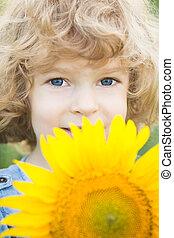 孩子, 由于, 向日葵