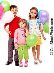 孩子, 由于, 气球