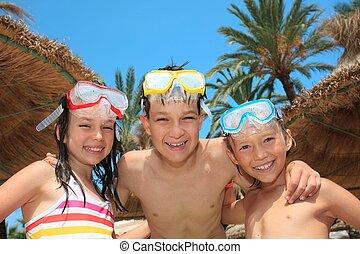 孩子, 由于, 水下通气管, 面罩