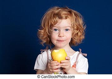 孩子, 由于, 蘋果