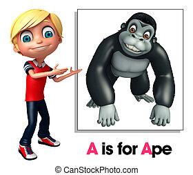 孩子, 男孩, 指, 猿