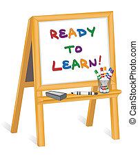 孩子, 画架, 准备好, 学习