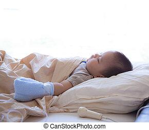 孩子, 病人, 睡著, 在, 醫院床