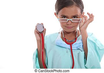 孩子, 穿, 长大, 医院, 擦洗, 玻璃杯, 同时,, a, 听诊器