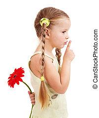 孩子, 給, flower.