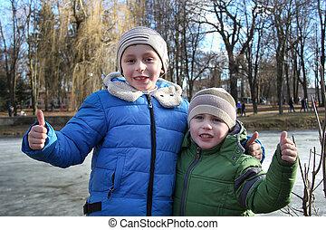 孩子, 背景, 公園, 步行, 凍結湖