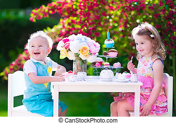 孩子, 花園, 茶, 樂趣, 黨, 有