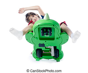 孩子, 落下, 从, 玩具, 自行车