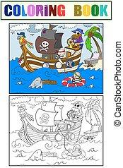 孩子, 著色, 上, the, 主題, ......的, 海盜, 矢量