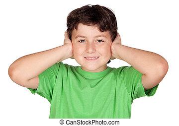 孩子, 藏品, 他的, 手, 針對, 他的, 耳朵