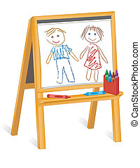 孩子, 蠟筆圖畫, 木頭, 畫架
