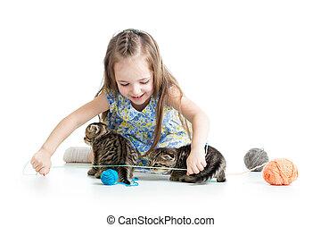 孩子, 被隔离, 玩, 背景, 小貓, 女孩, 白色