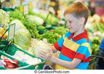 孩子, 購物, 在, 超級市場