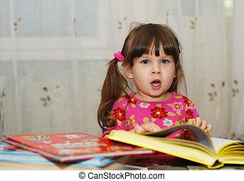 孩子, 閱讀, the, 書