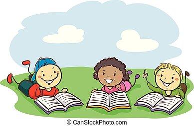 孩子, 領域, 當時, 書, 棍, 閱讀, 躺