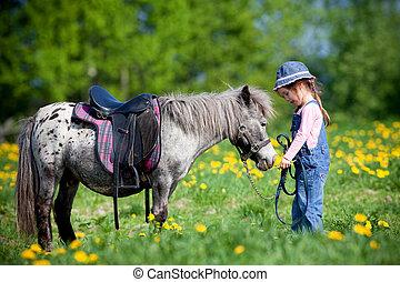 孩子, 騎馬, a, 馬