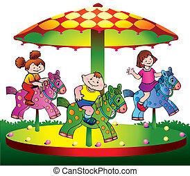 孩子, 骑, 在上, the, carousel.