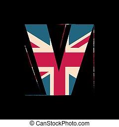 孩子, alphabet., illustration., v, 被隔离, 結構, 元素, 背景。, 旗, 矢量, 黑色, 英國, 信, 首都, 3d, design.