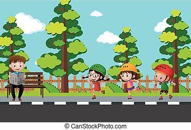 孩子, rollerskating, 在上, the, 人行道