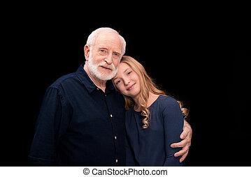 孫娘, 抱き合う, 祖父