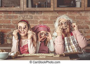 孫娘, 見る, カメラ, クッキー, おばあさん, によって, カッター