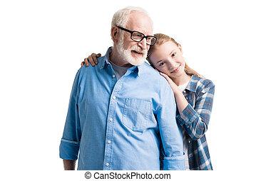 孫娘, 隔離された, 抱き合う, 祖父, スタジオ, 白, 幸せ