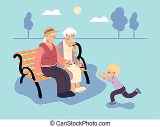 孫, おじいさん, 祖母, 祖父母, 日, 幸せ