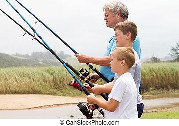 孫, シニア, 彼の, 釣り, 人