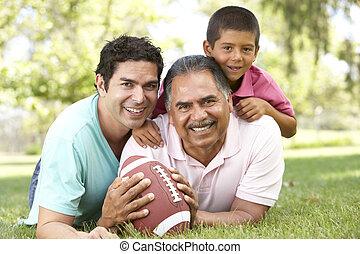 孫, フットボール, 公園, 祖父, アメリカ人, 息子