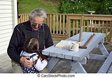 孫, 抱擁, 偉人, おじいさん, 彼の