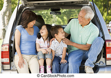 孫, 祖父母, 自動車, テールゲート