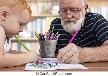 孫, 色, 祖父, チームワーク, ∥間に∥, 図画