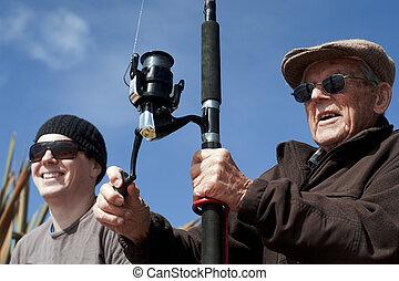 孫, 釣り, 一緒に, 祖父