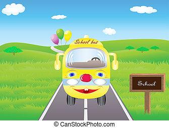 學校公共汽車, 上, 路