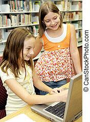 學校圖書館, -, 樂趣, 在網上