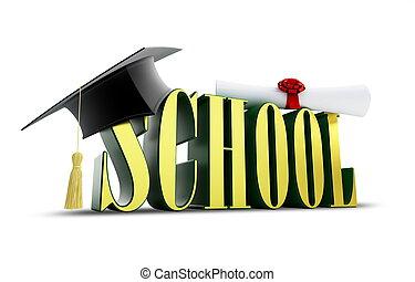 學校, 以及, 畢業帽子