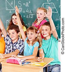 學校, 孩子, 坐, 在, classroom.