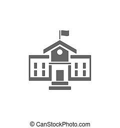 學校, 建築物, 圖象, 上, a, 白色 背景
