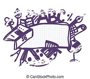 學校, 框架, 心不在焉地亂寫亂畫, 有趣, 卡通