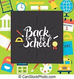 學校, 概念, 背, 黑板