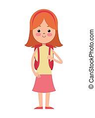 學校, 王冠, 背, 袋子, 女孩, 白膚金髮, 卡通, 紅色