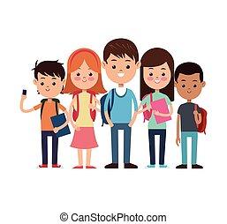學校, 組, 學生, 研究, 背, 准備好