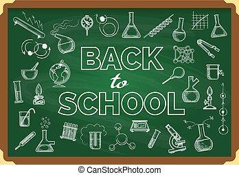學校, 背, 黑板