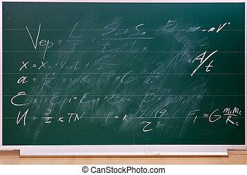 學校, 黑板, 由于, writing.